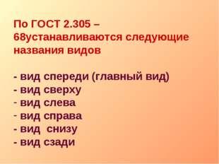 По ГОСТ 2.305 – 68устанавливаются следующие названия видов - вид спереди (гла