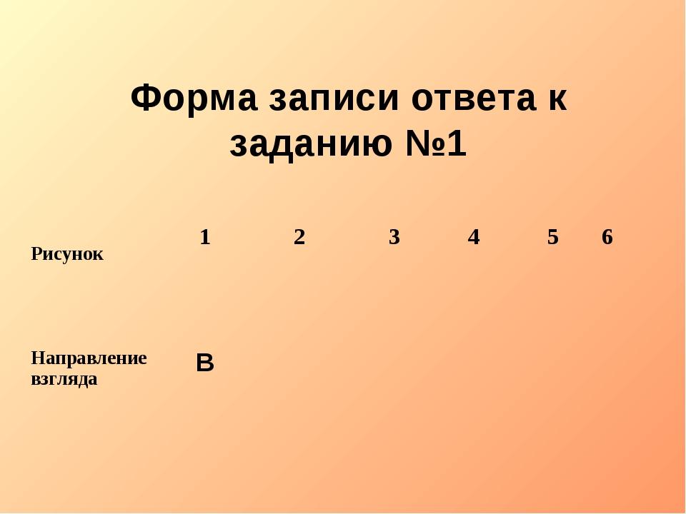 Форма записи ответа к заданию №1 Рисунок123456 Направление взглядаВ