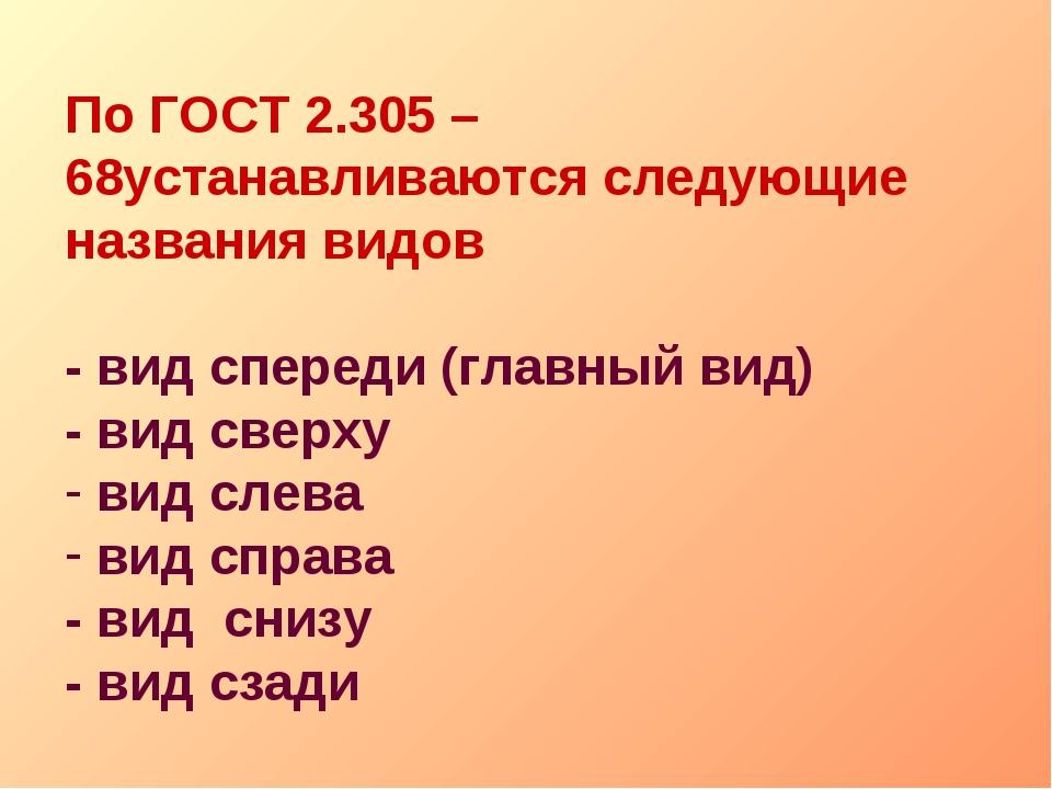 По ГОСТ 2.305 – 68устанавливаются следующие названия видов - вид спереди (гла...