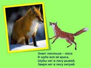 Знает лисонька – лиса: В шубе вся её краса. Шубы нет в лесу рыжей, Зверя нет