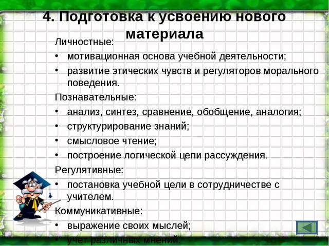 4. Подготовка к усвоению нового материала Личностные: мотивационная основа уч...