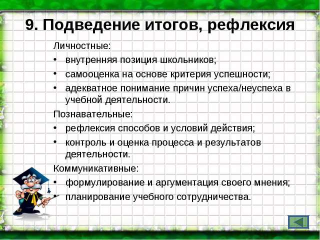 9. Подведение итогов, рефлексия Личностные: внутренняя позиция школьников; са...