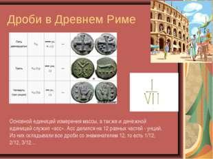 Дроби в Древнем Риме Основной единицей измерения массы, а также и денежной ед