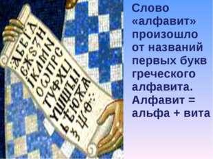 Слово «алфавит» произошло от названий первых букв греческого алфавита. Алфав