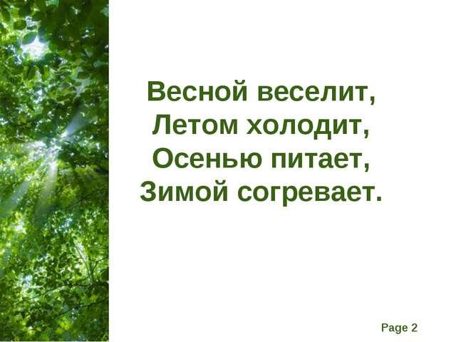 Весной веселит, Летом холодит, Осенью питает, Зимой согревает. Free Powerpoin...