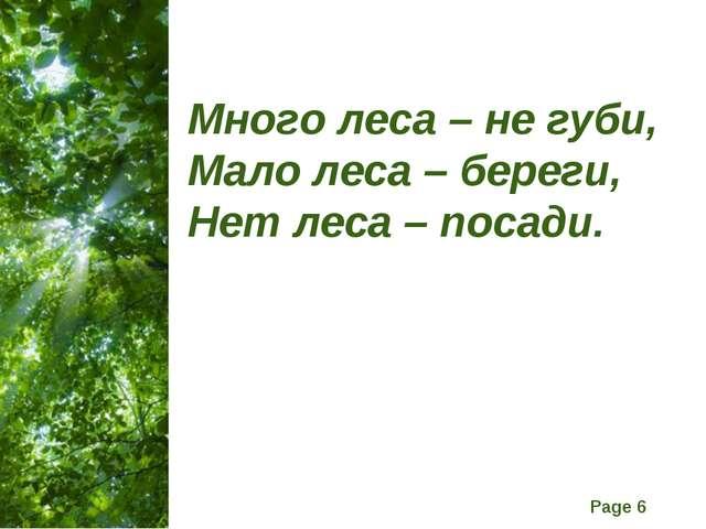 Много леса – не губи, Мало леса – береги, Нет леса – посади. Free Powerpoint...