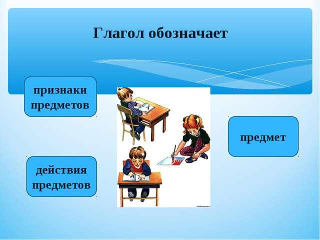 действия предметов признаки предметов предмет Глагол обозначает