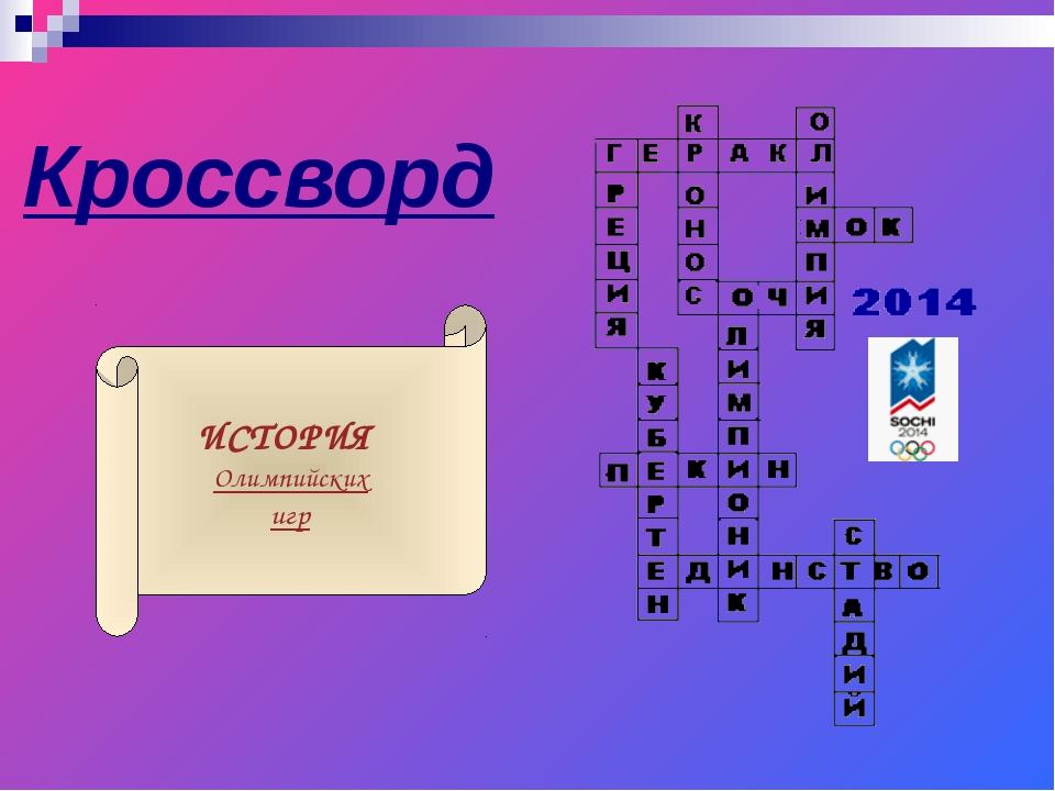 Кроссворд ИСТОРИЯ Олимпийских игр