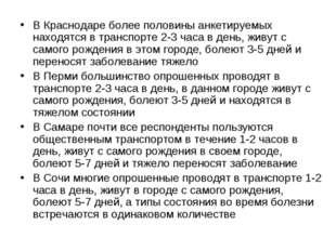 В Краснодаре более половины анкетируемых находятся в транспорте 2-3 часа в де