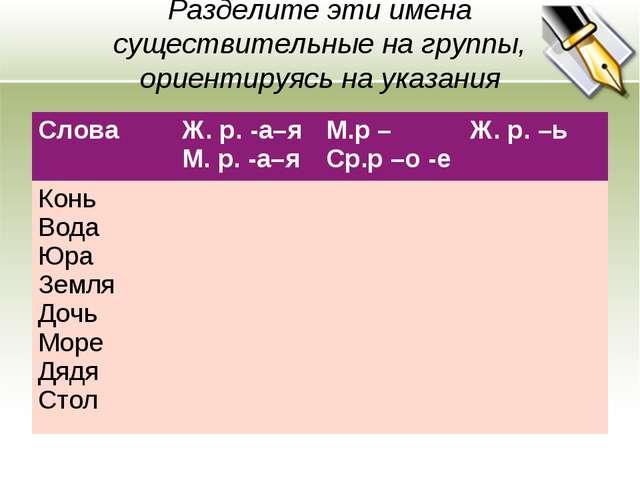 Разделите эти имена существительные на группы, ориентируясь на указания Слова...