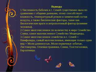 Выводы Численность бабочек в г. Семей существенно мала по сравнению с общими