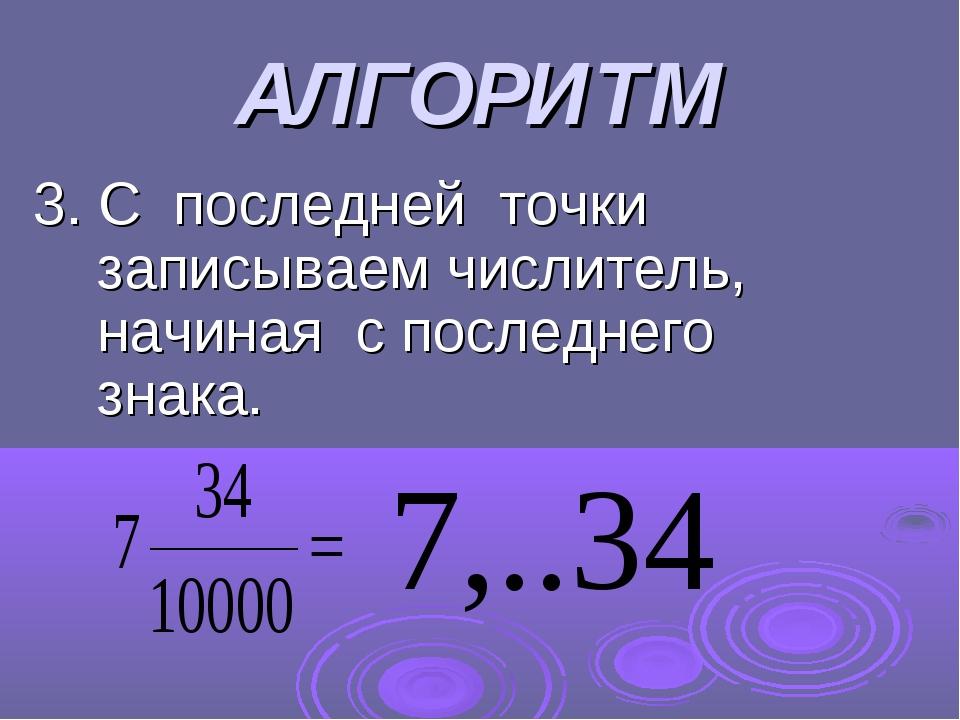 АЛГОРИТМ 3. С последней точки записываем числитель, начиная с последнего знака.