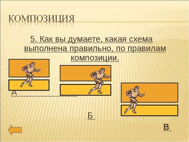 5. Как вы думаете, какая схема выполнена правильно, по правилам композиции. А...