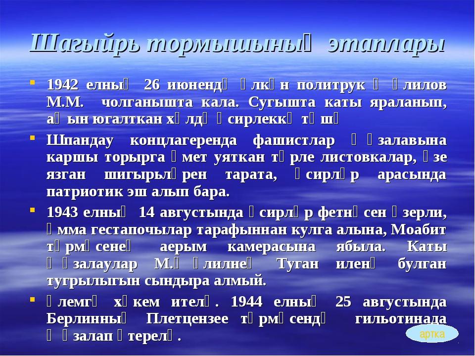 Шагыйрь тормышының этаплары 1942 елның 26 июнендә өлкән политрук Җәлилов М.М....