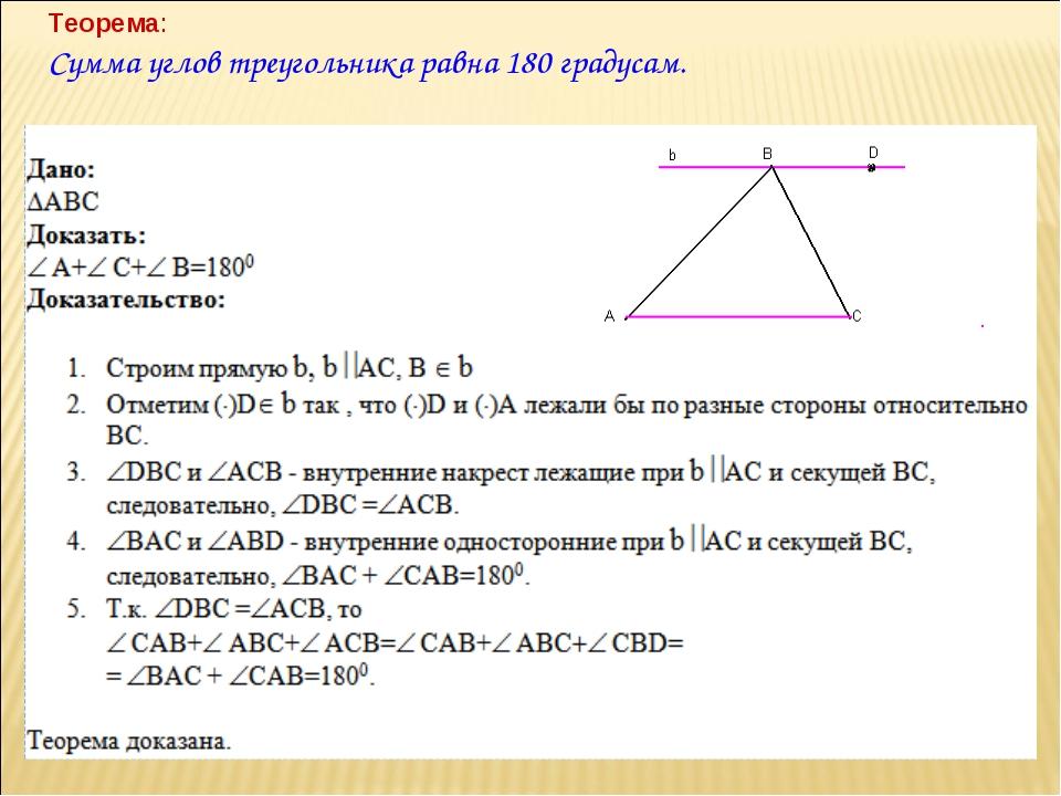 Теорема: Сумма углов треугольника равна 180 градусам.