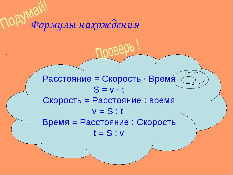 Формулы нахождения Расстояние = Скорость ∙ Время S = v ∙ t Скорость = Расстоя...