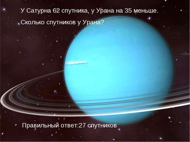 У Сатурна 62 спутника, у Урана на 35 меньше. Сколько спутников у Урана? Прави...