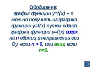 Обобщение: график функции y=f(x) + n можно получить из графика функции y=f(x)