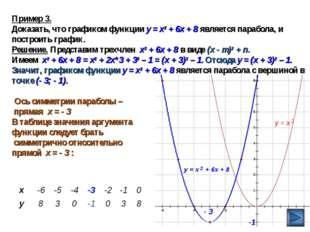 Пример 3. Доказать, что графиком функции у = х2 + 6х + 8 является парабола, и