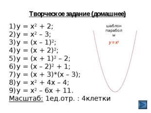 Творческое задание (домашнее) у = х2 + 2; у = х2 – 3; у = (х – 1)2; у = (х +