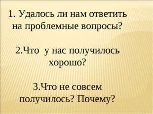 1. Удалось ли нам ответить на проблемные вопросы? 2.Что у нас получилось хоро