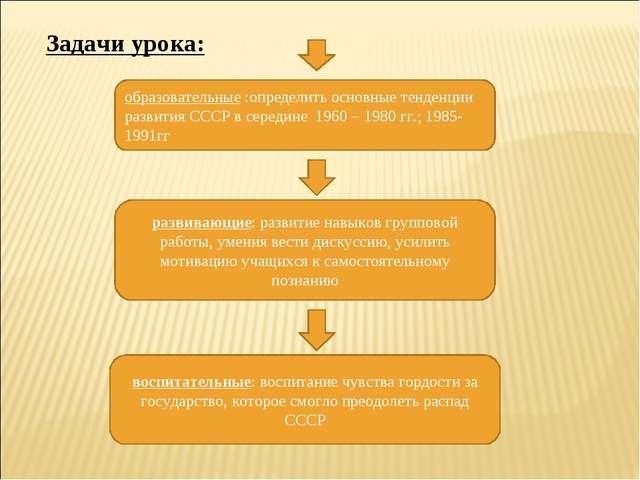 Задачи урока: образовательные :определить основные тенденции развития СССР в...