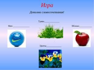 Игра Мяч ______________ Трава_____________ Яблоко___________ Цветы___________