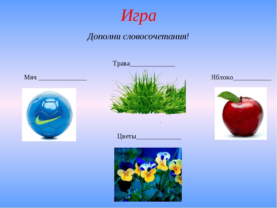 Игра Мяч ______________ Трава_____________ Яблоко___________ Цветы___________...