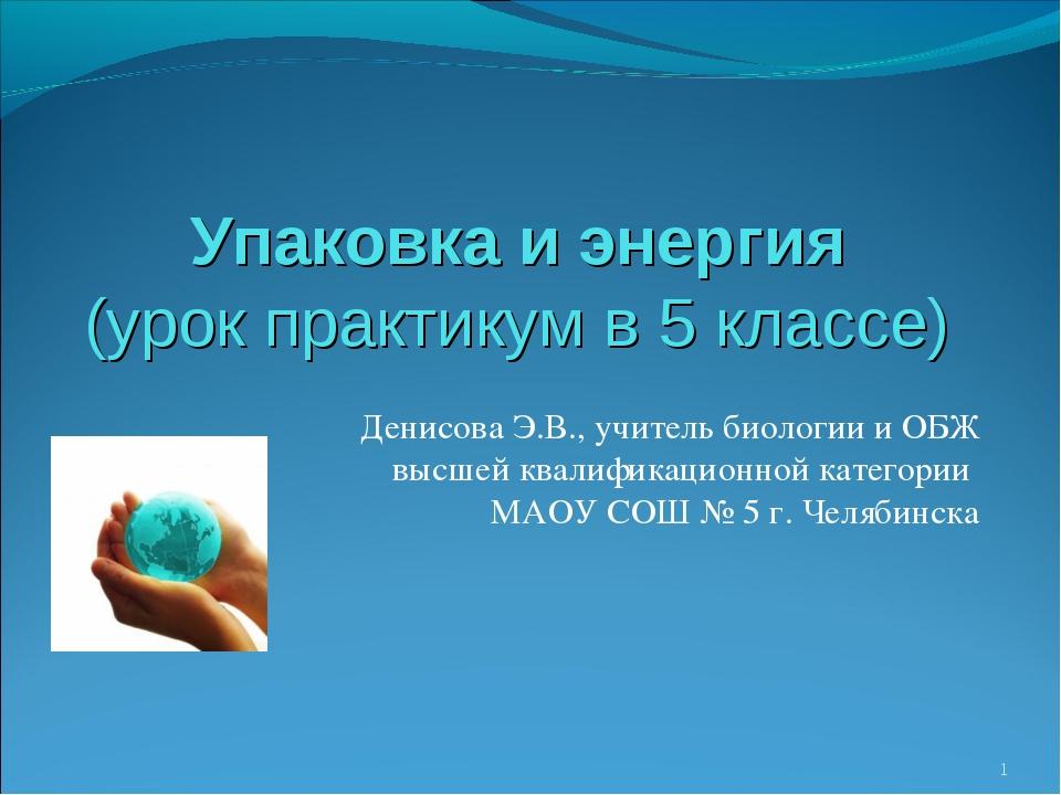 Упаковка и энергия (урок практикум в 5 классе) Денисова Э.В., учитель биологи...