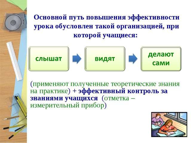 Основной путь повышения эффективности урока обусловлен такой организацией, пр...