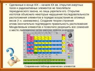 Сделанные в конце XIX – начале XX вв. открытия инертных газов и радиоактивных