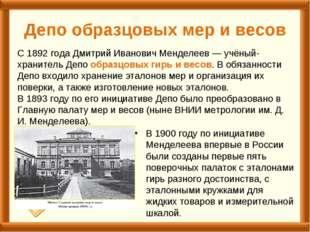 Депо образцовых мер и весов В 1900 году по инициативе Менделеева впервые в Ро