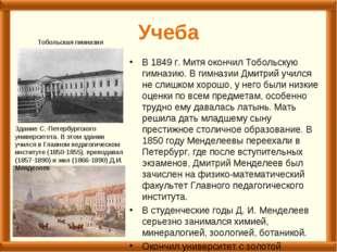 Учеба В 1849 г. Митя окончил Тобольскую гимназию. В гимназии Дмитрий учился н