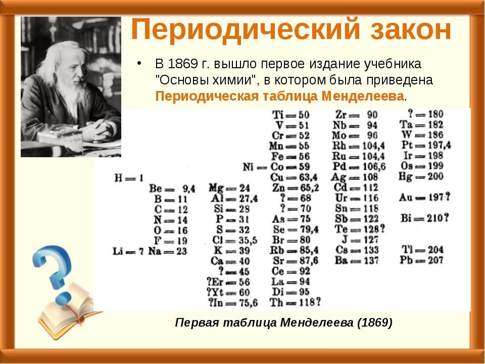 """Периодический закон В 1869г. вышло первое издание учебника """"Основы химии"""", в..."""