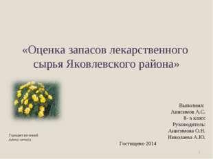«Оценка запасов лекарственного сырья Яковлевского района» * Выполнил: Анисим