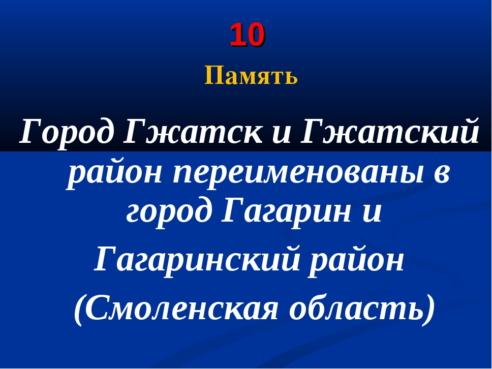 10 Память Город Гжатск и Гжатский район переименованы в городГагарини Гага...