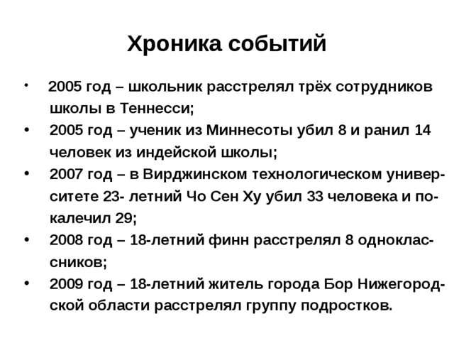 Хроника событий 2005 год – школьник расстрелял трёх сотрудников школы в Тенне...
