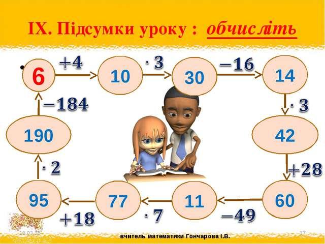 IX. Підсумки уроку : обчисліть * * * 6 10 14 30 42 11 60 77 95 190 вчитель ма...