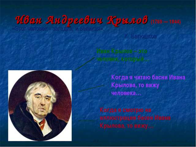 Иван Андреевич Крылов (1769 — 1844) «Этот человек - загадка, и великая». К. Б...