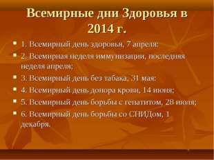Всемирные дни Здоровья в 2014 г. 1. Всемирный день здоровья, 7 апреля: 2. Все