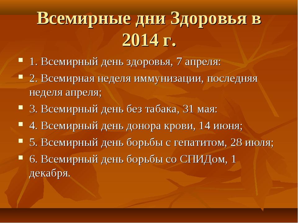 Всемирные дни Здоровья в 2014 г. 1. Всемирный день здоровья, 7 апреля: 2. Все...