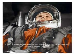 Юрий Гагарин в кабине космического корабля «Восток» перед полетом в космос 12