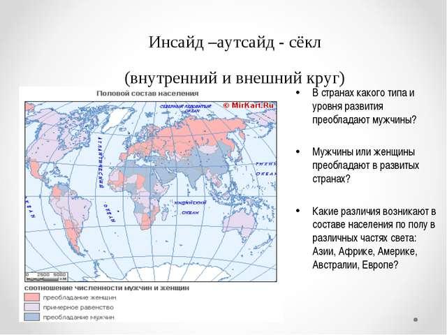 Инсайд –аутсайд - сёкл (внутренний и внешний круг) В странах какого типа и ур...
