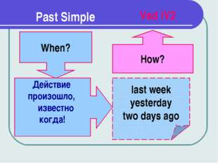 Past Simple When? last week yesterday two days ago How? Ved |V2 Действие прои