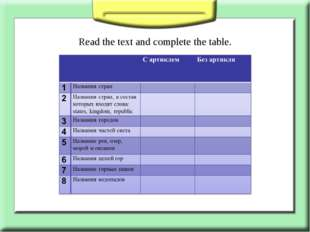 Read the text and complete the table.