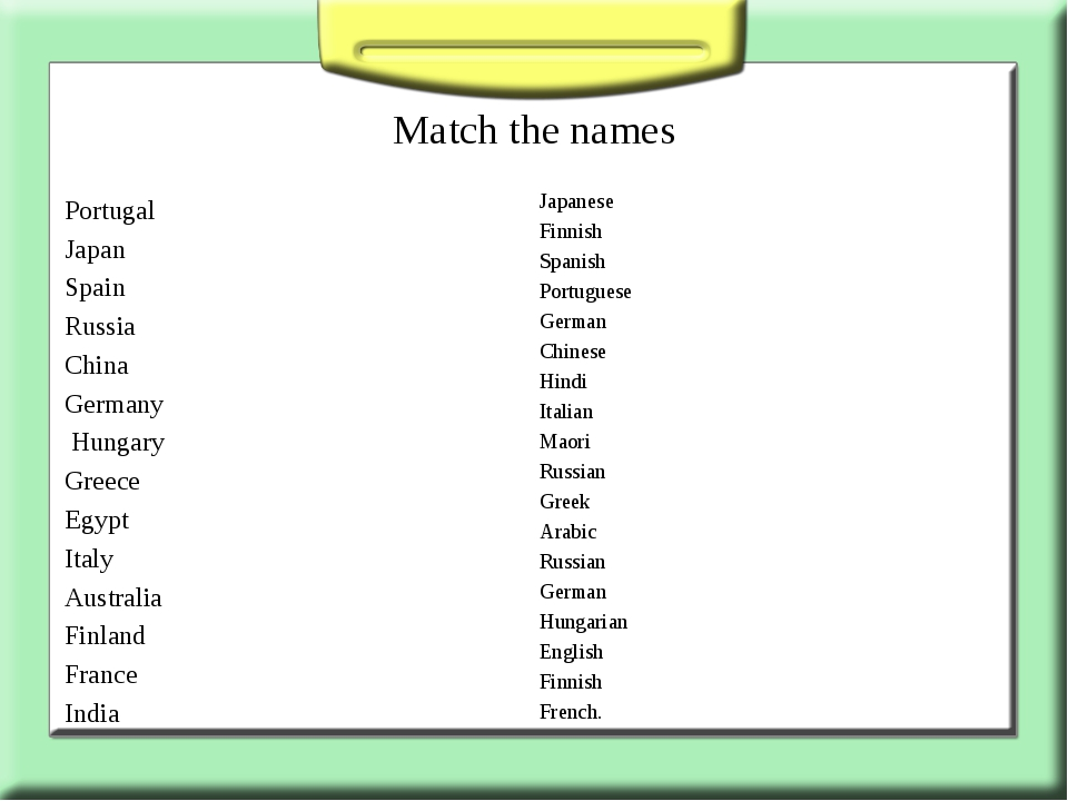 Match the names Portugal Japan Spain Russia China Germany Hungary Greece Egyp...