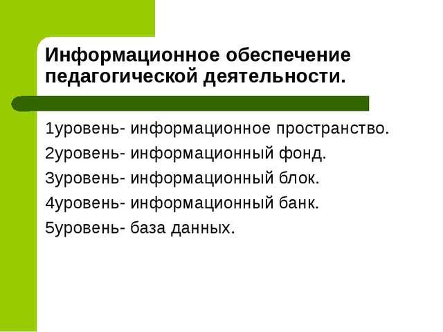 Информационное обеспечение педагогической деятельности. 1уровень- информацион...
