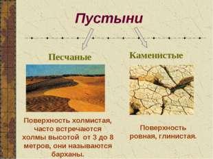 Пустыни Песчаные Каменистые Поверхность холмистая, часто встречаются холмы вы