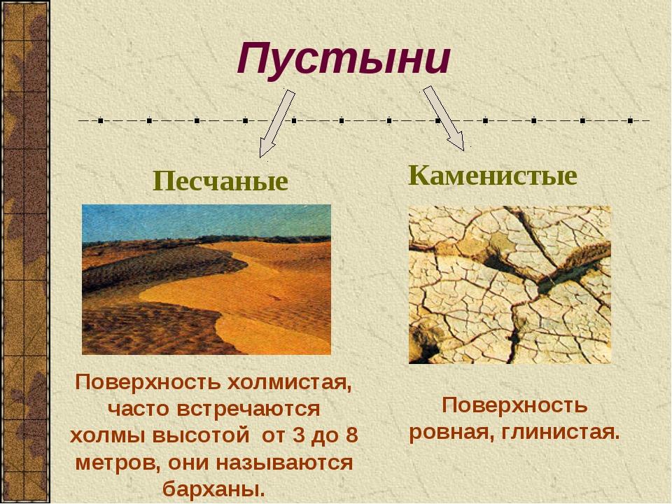 Пустыни Песчаные Каменистые Поверхность холмистая, часто встречаются холмы вы...