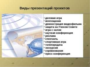 Виды презентаций проектов деловая игра воплощение демонстрация видеофильма за
